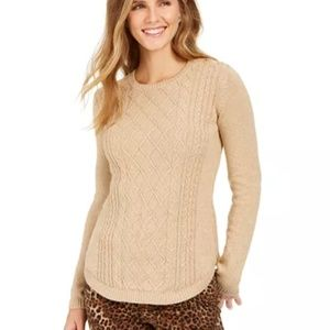 Charter Club Buttons On The Shoulder Cable Sweater